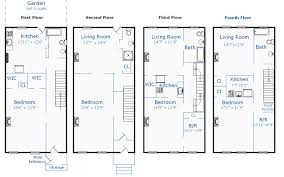 row house floor plans home design brownstone building plans