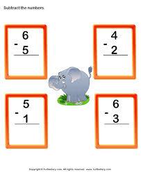 single digit column subtraction worksheet turtle diary