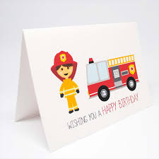 birthday card boy firefighter and red fire engine hbc240 mum