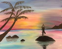 themed paintings learn to paint sunset