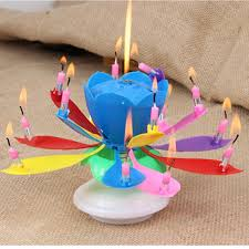 lotus birthday candle birthday candle multi colors musical lotus flower rotating