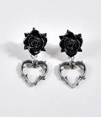 black drop earrings black silver heart drop earrings unique vintage