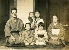 antique japanese photo family formal portrait kimono