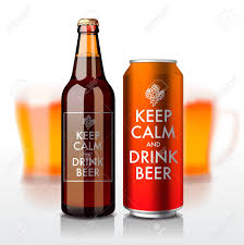 beer vector beer bottle and can with label keep calm and drink beer vector