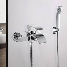 In Wall Bathroom Faucets Modern Widerspread Hand Shower In Wall Waterfall Bathtub Faucet
