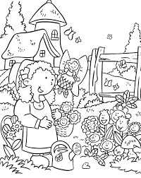 gardening coloring page for kids at garden coloring page