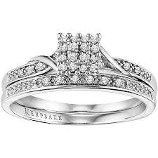 white gold bridal sets keepsake 1 8 carat t w certified diamond 10kt white gold