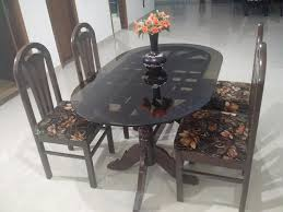 4 chair teak wood dining table with glass top bangalore