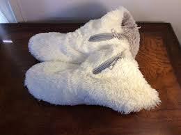womens slipper boots size 9 aerosoles s white fuzzy slippers booties front zipper size