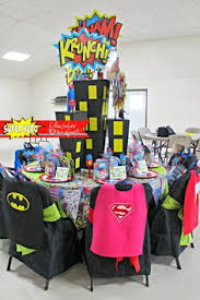 Batman Table Decorations Super Man Table I Used Plastic Covers And Made Capes For The