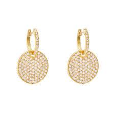 yellow gold earrings betteridge collection pavé diamond circle drop earrings jewelry
