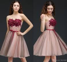 peach tulle a line burgundy flower new designer short prom dresses