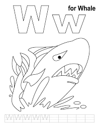 w for whale coloring page with handwriting practice download