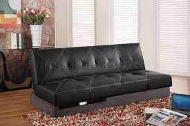 Leather Upholstery Sofa Modern Sleeper Sofa With Tufted Black Leather Upholstery