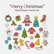 vector merry christmas hand drawn set with santa claus snowman