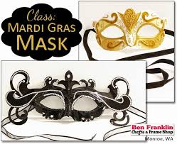 make your own mardi gras mask ben franklin crafts and frame shop wa class make your own