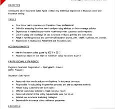 Resume Samples For Banking Sector by Insurance Sales Resume Sample Objective Skills Recentresumes Com