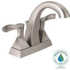 Brushed Nickel Bathroom Faucets by Delta Everly 4 In Centerset 2 Handle Bathroom Faucet In