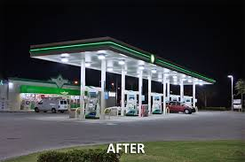 led gas station light bp gas station goes green with induction lighting synergy lighting