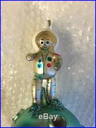 vintage blown glass hand made christmas ornament moon astro man 7