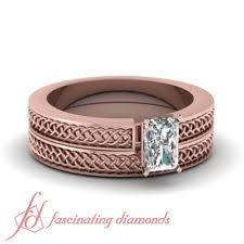Rose Gold Wedding Ring Sets rose gold band diamond u0026 gemstone engagement u0026 wedding ring sets