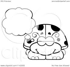 cartoon clipart of a black and white dreaming ladybug vector