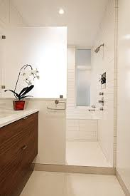 glass half wall bathroom tropical with recessed lighting tropical