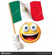 Cartoon Mexican Flag Emoji Holding Mexican Flag Emoticon Waving National Flag Mexico