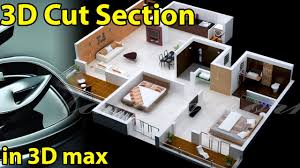 Floor Plan In 3d by How To Make 3d Cut View In 3dmax Youtube