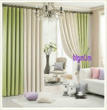 Green And Beige Curtains Summer Style Linen Curtains For Living Room Blackout Curtain White