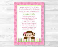 monkey invitations baby shower cute pink monkey baby shower invitation monkey baby shower