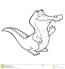 vector cartoon crocodile line art coloring book stock image
