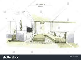vector interior sketch design living room stock vector 229014283