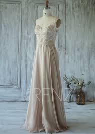 champagne bridesmaid dress tulle illusion wedding dress
