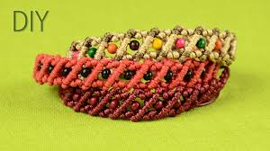 macrame bracelet with beads images Striped macrame bracelets with beads tutorial jpg