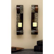 Wall Sconces Candles Holder Pierced Leaf Wall Sconce Candle Holders Set Of 2 34798 The
