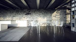 furniture industrial dining room design brick wall beams ciling