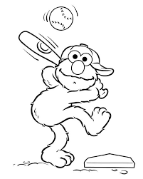 elmo preparing to hit the ball coloring pages for kids ez3