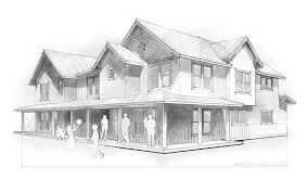 pencil sketch of house multifamily home pencil sketch green