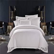 White Silk Bedding Sets New 100 Cotton Tribute Silk Bedding Set White Embroidered Hotel
