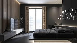 meuble de chambre design peinture noir mat parement bois meuble télé blanc laqué lit bas