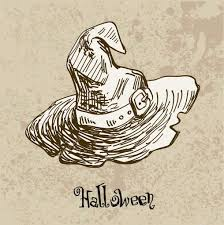 vector illustration of halloween witch hat yand drawn on vintage