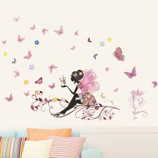 zooarts flower fairy butterfly removable vinyl wall decals