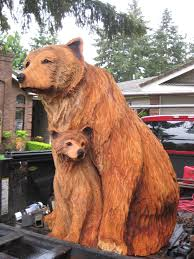 chainsaw carved for sale momma and cub commision