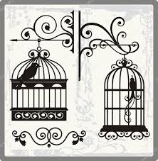 vintage bird cages with ornamental decorations stock vector