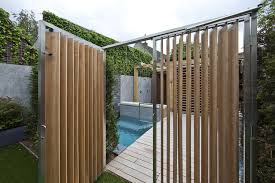 Fence Ideas For Small Backyard by Innovative Vertical Wooden Fence Combined With Metal Trim Design