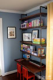 pipe desk with shelves remodelaholic diy industrial pipe shelves and desk
