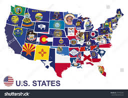 Us Maps With States by Us Map Flags States On White Stock Vector 257492356 Shutterstock