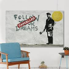 popular art wall banksy buy cheap art wall banksy lots from china hdartisan canvas art banksy wall pictures for living room follow your dreams graffiti painting home decor