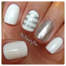 white silver striped nails gelish arctic freeze white for
